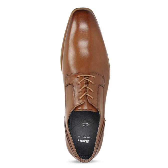 Brązowe skórzane półbuty męskie bata, brązowy, 826-3615 - 17
