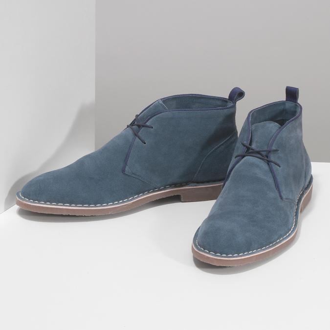 Granatowe skórzane desert boots męskie bata, niebieski, 823-9655 - 16