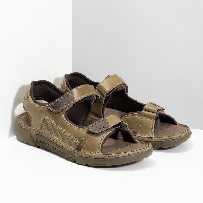 Beżowe skórzane sandały męskie na rzepy weinbrenner, brązowy, 866-2644 - 26